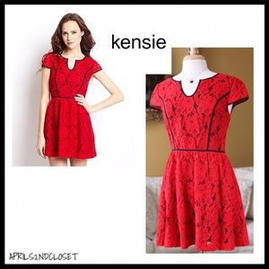 RED LACE SHORT SLEEVES A-LINE PARTY DRESS